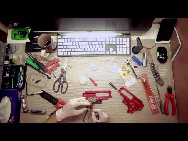 Сборка гирбокса v2   m4/m16 aeg gearbox Assembly