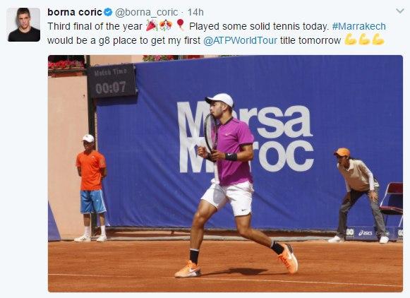 Borna Coric before ATP MArrakech final tweets