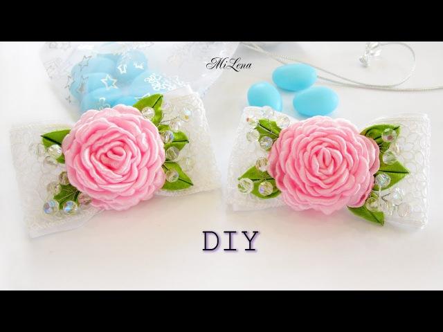 БАНТИКИ С РОЗАМИ, МК / DIY Ribbon roses bows