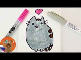 Урок рисования для детей | Кошка Пушин из стикеров Facebook в японском няшном стиле