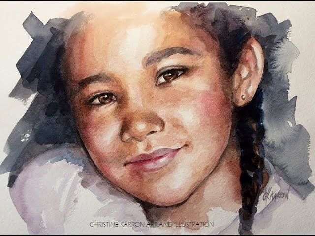 Watercolor painting portrait sketch demo by Ch.Karron