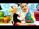 🎄Новогодний пирог Плей До для БАРБИ Видео для девочек.