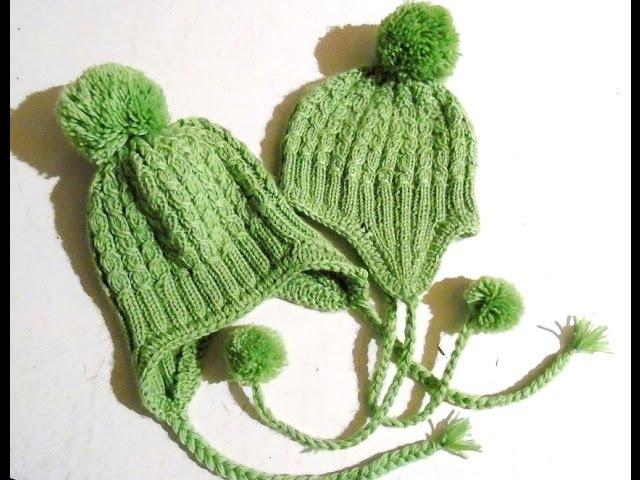 Вяжем спицами - шапочка с ушками. Часть 1/ Knitting hat with ears