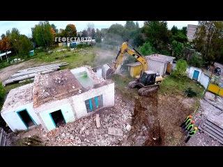Снос здания. Демонтаж сооружения бывшей воинской казармы. Демонтажные работы ЖБ...