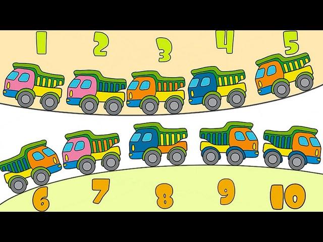 Apprendreàcompter de 1 à 10 avec les camions Dessin animé educatif pour les enfants