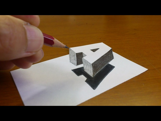 Very Easy!! How To Drawing 3D Floating Letter A 2 - Anamorphic Illusion - 3D Trick Art on paper