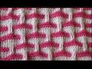 Двухцветный узор спицами из снятых петель 2.