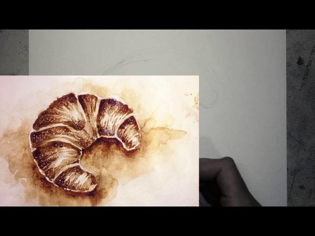 🥐 Круассан ИЗ КОФЕ ✏️ Набросок карандашом