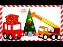 Dessin animé. 4 voitures 4voitures décorent l'arbre de Noël. Apprendre les couleurs