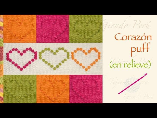 Crochet: corazones puff en relieve (en 1 o más colores!)