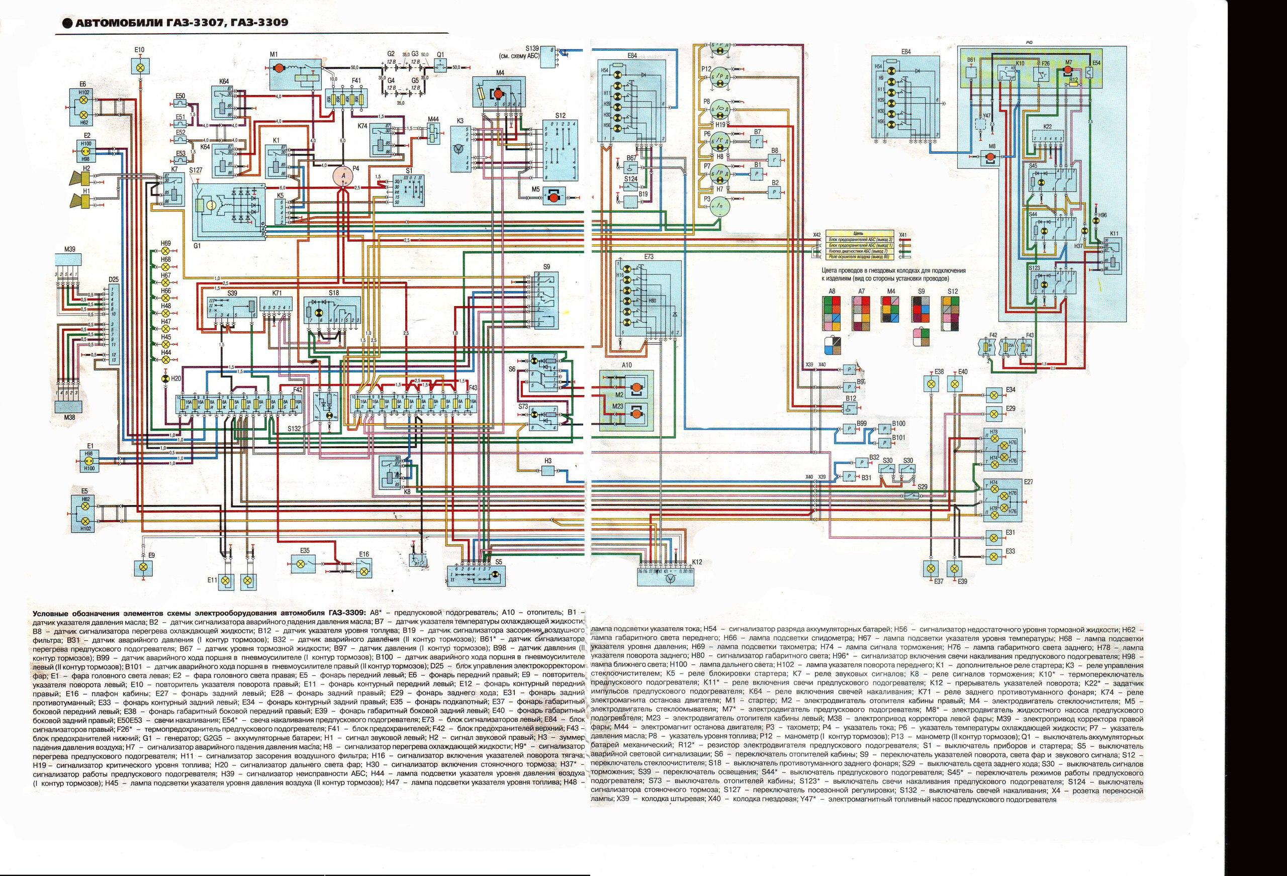 Электрическая схема газ 3309 дизель стоп сигнал 62