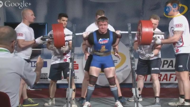 Алексей Сорокин. Рекорд Европы. Приседает 375 кг до 83 кг. Чемпионат Европы 2015 года в Германии