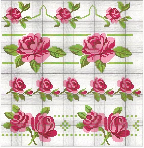 Вышивка крестом роза простая схема 34