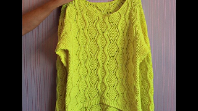 Как связать женский свитер ажурным узором и укорочеными рядами Pullover for women