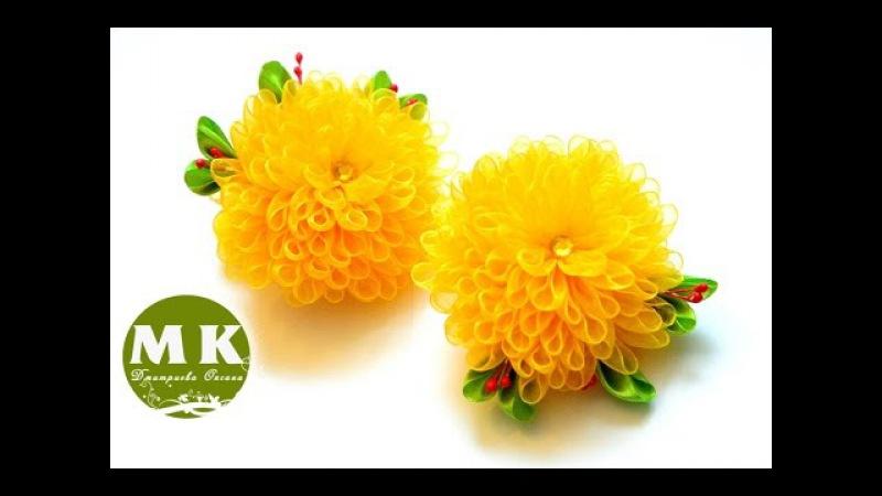 Мастер класс Канзаши Резинки для волос Хризантемы Scrunchy The flowers of satin ribbons
