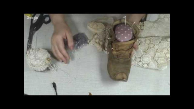 Башмак игольница в технике грунтованный текстиль