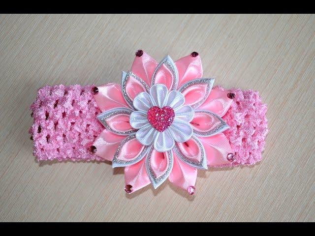 Розовая повязка канзаши Мастер класс детская розовая повязка канзаши DIY pink flower