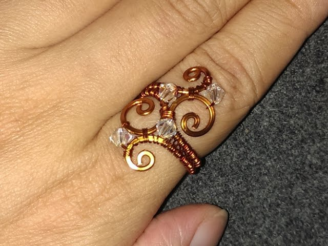 Wave copper ring handcrafted copper jewelry 48