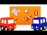 Um avião pequeno.TREM mágico! QUEBRA-cabeças. Desenhos animados de carros para crianças. BR