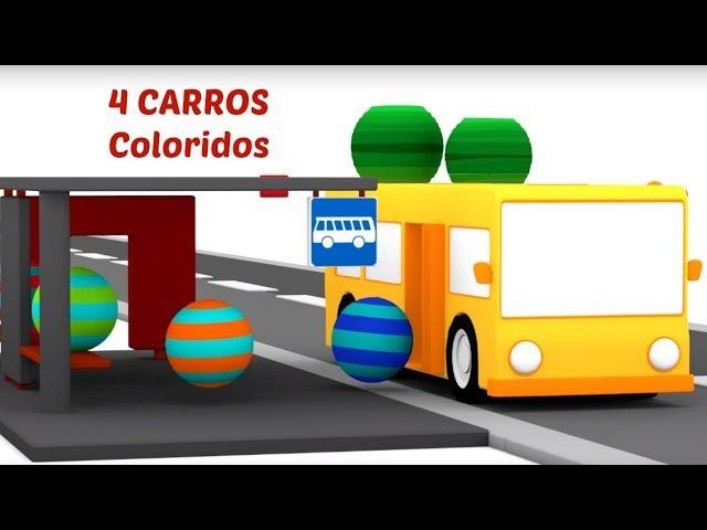 🚌Vamos construír o ônibus! 4 carros coloridos. Desenhos animados para crianças. Br desenhoscarros
