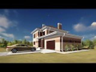 Проект двухэтажного дома 200 м.кв. с гаражом