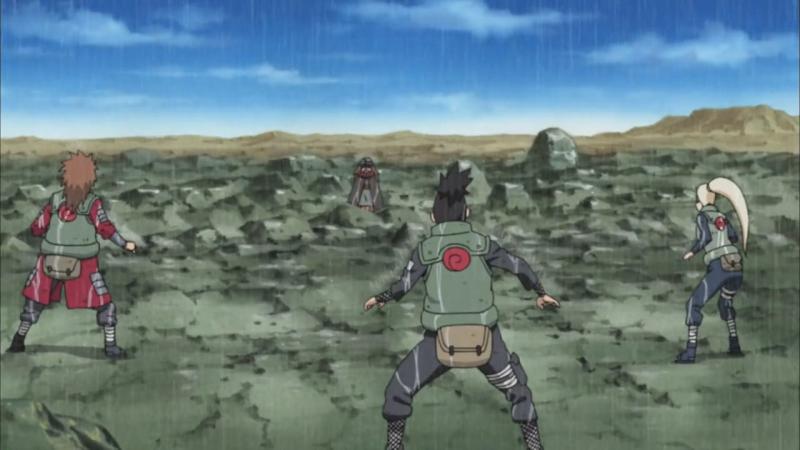 Наруто, Сакура, Киба и ИноШикаЧо против Ёты