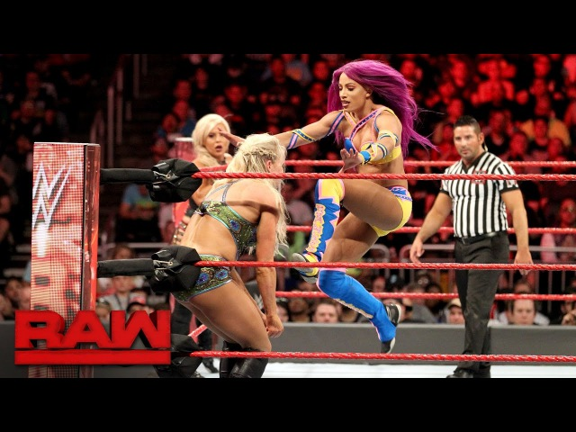 Bayley, Sasha Banks Dana Brooke vs. Charlotte Flair, Nia Jax Emma Raw, April 3, 2017