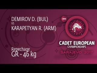 Repechage GR - 46 kg: D. DEMIROV (BUL) df. R. KARAPETYAN (ARM) by VFA, 8-5