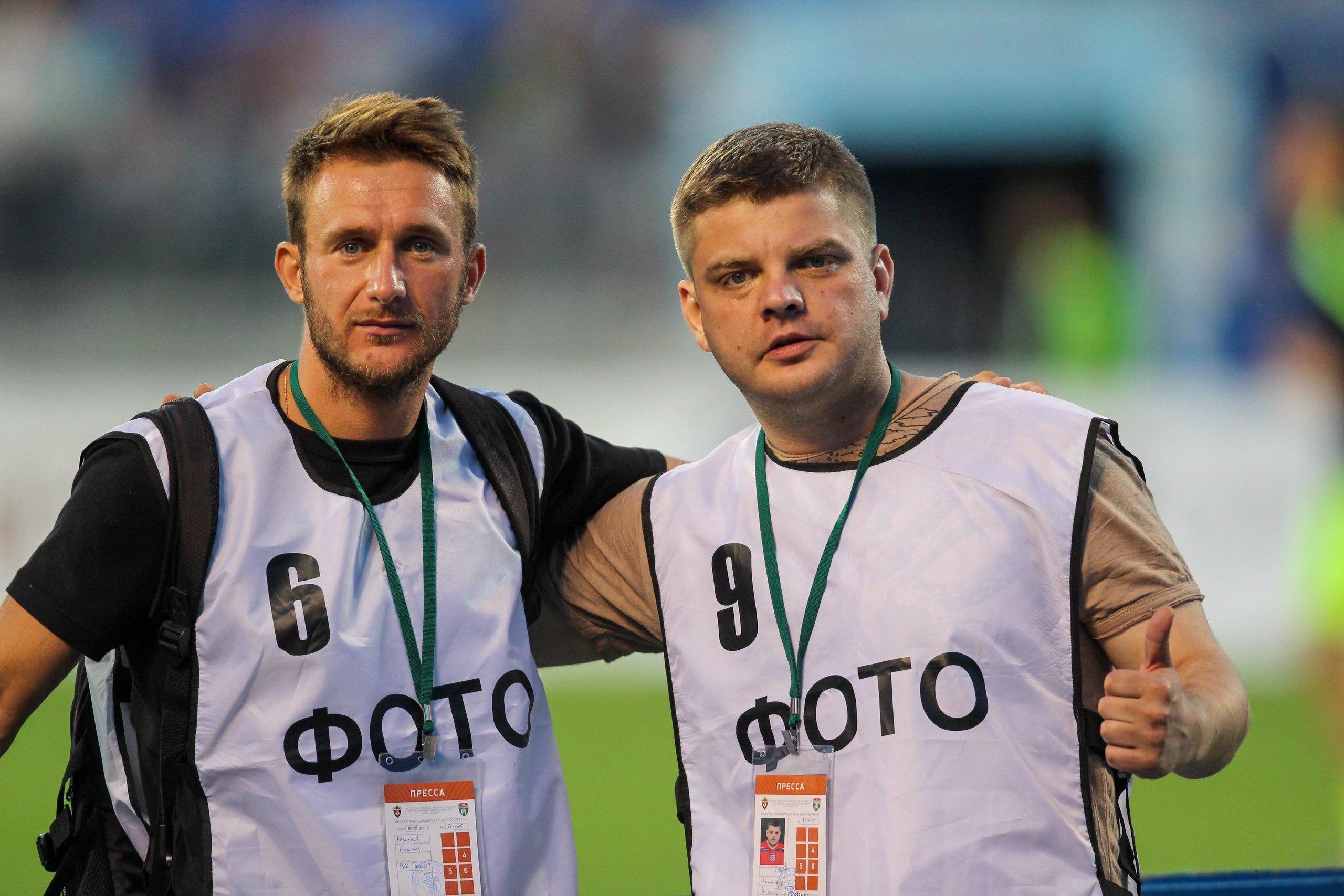Никита Максаев и Андрей Наумочкин на матче Тосно