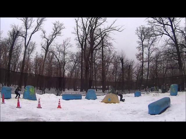 тренировка по спорт пейнтболу зимой клуб скорпион дуэль передавливание противн...