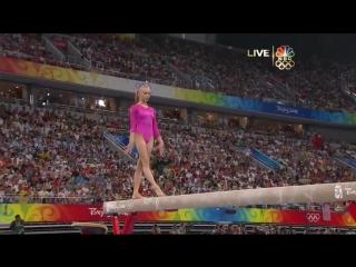 Спортивная гимнастика. Nastia Liukin, упражнения на бревне, 2008 Olympics