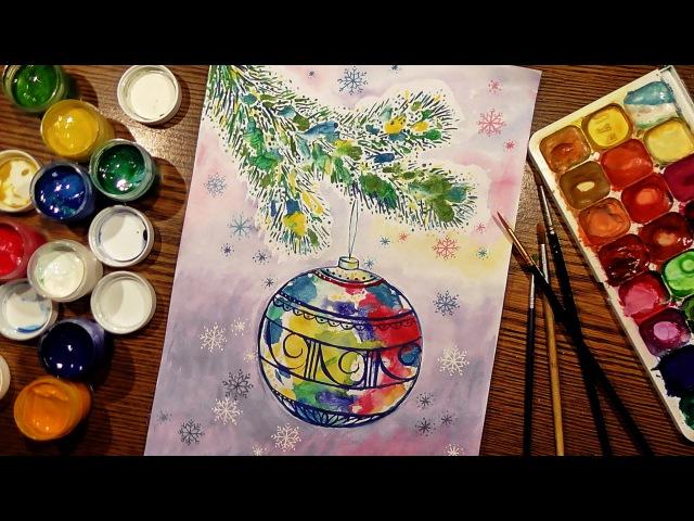 Speed Painting | Christmas Sphere | Technique Monotype | Gouache | IOTN