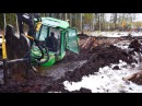 John Deere 1110D stuck in mud(in wet peat), saving with JCB JS160 excavator and Belarus 820