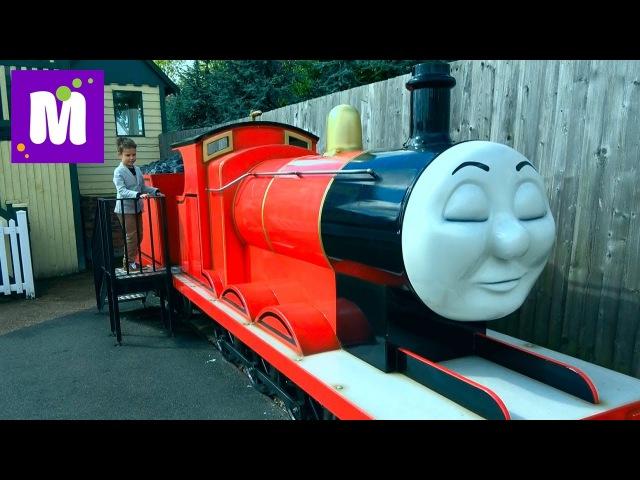 Паровозик Томас Парк развлечений Летающий трамвай и Американские горки в вагонах и на машинках