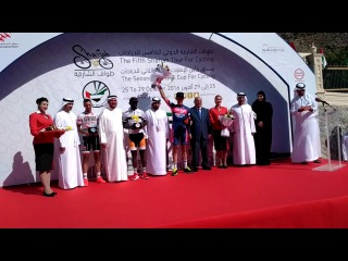 2016 Sharjah Tour Stage 3 award ceremony - Stanislau Bazhkou (Minsk Cycling Club)
