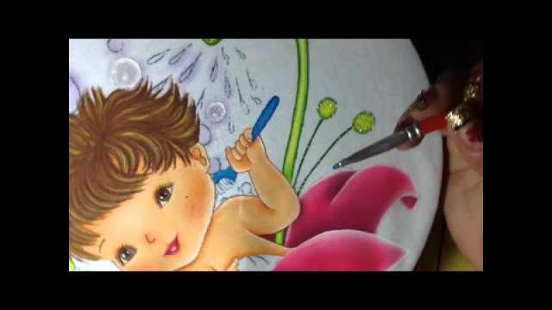 Pintura en tela niño en flor 6 con cony