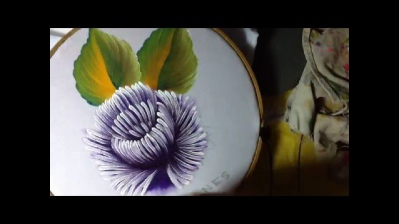 Pintura en tela crisantemo semanario 5 con cony