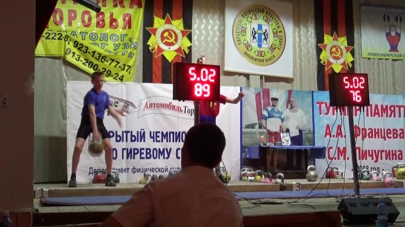 Бородынкин Никита (вес 55,3кг), рывок гири 16кг 163 подъёма