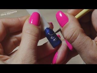 Дизайн ногтей | Зимний экспресс-дизайн | Бархатные вензеля