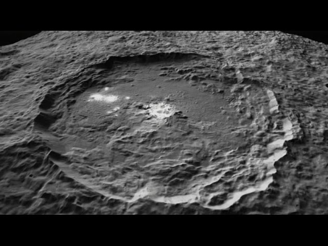 NASA's Dawn Spacecraft: Flight Over Occator Crater on Dwarf Planet Ceres