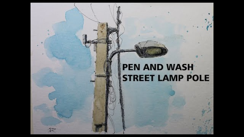 A Pen and Wash Street Lamp Pole,Urban Sketching style,Simple and Easy lesson Nil Rocha