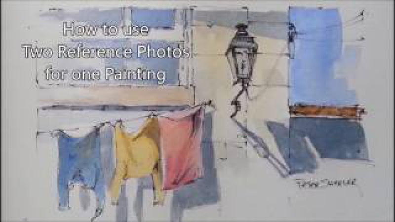 How to use Two Photos to Create a Line and Wash Watercolor. Peter Sheeler