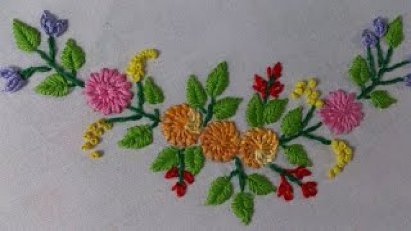 Hand Embroidery stitches Tutorial. Tiny design for frocks, blouses , cushion covers etc,.