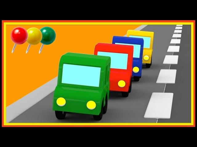 Dessin animé pour enfants de 4 voitures. Les règles de circulation
