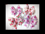 DIY Бантики из лент канзаши МК hair clips ribbon kanzashi DIY