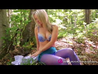 Candice nude in forest leggins panties