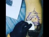 Процесс нанесения татуировки Симонов