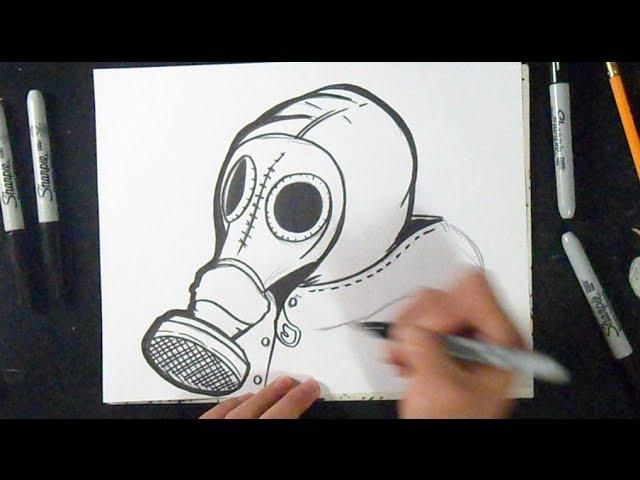как рисовать противогаз граффити