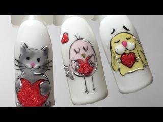 Дизайн ногтей к 14 февраля. Nail design