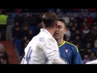 El pique entre Ramos y Aspas durante el partido de Copa del Rey en el Bernabéu